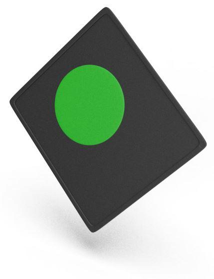 Ein Vita Chip. Er ist schwarz mit einem grünen Punkt.